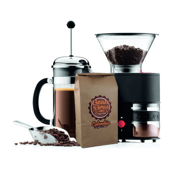 Bodum Burr Grinder, French Press and Bean Bros Whole Bean Coffee